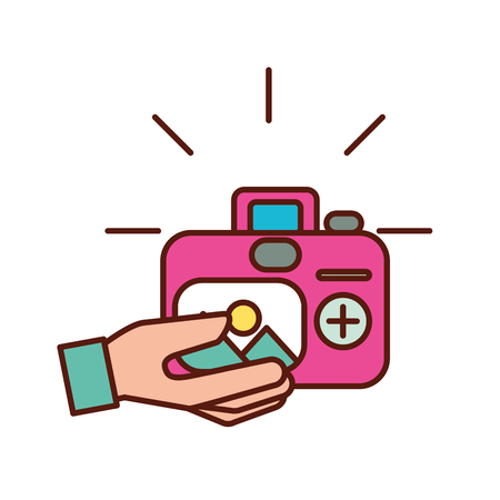 hand with photographic camera picture art vector illustration Çizim