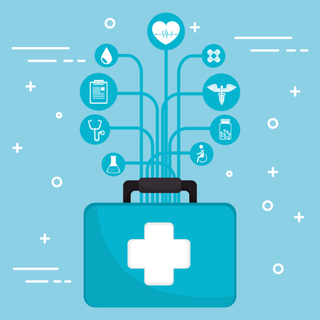 medical kit with medical healthcare icons vector illustration design