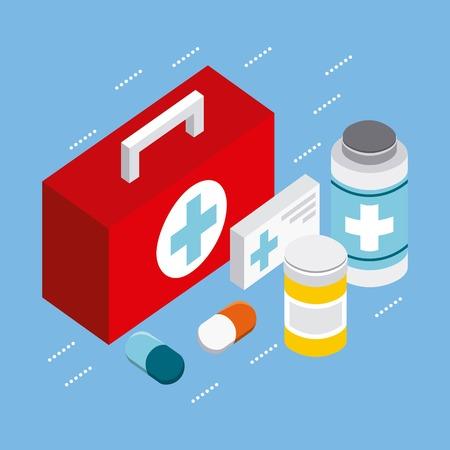 health first aid kit medicines vector illustration