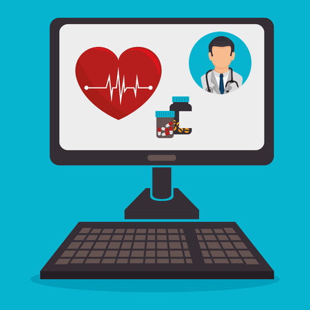 computer with telemedicine technology vector illustration design
