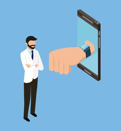 digital health smartphone screen hand doctor arms folded vector illustration Archivio Fotografico - 109951265