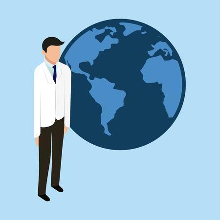 health world doctor standing international help vector illustration