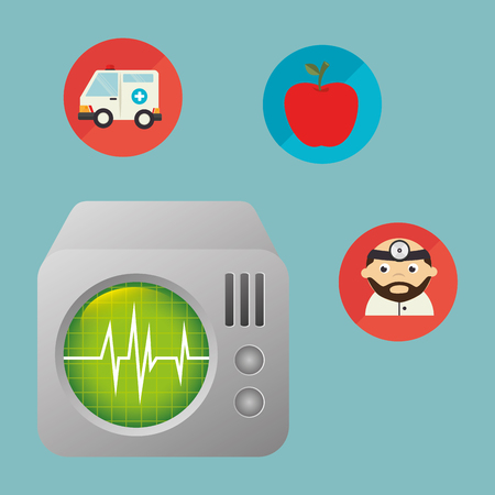 ekg machine with medical healthcare icons vector illustration design