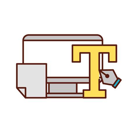 graphic design type tool fountain pen paper vector illustration  イラスト・ベクター素材