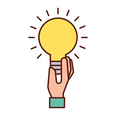 Mano sujetando bombilla idea creatividad símbolo ilustración vectorial