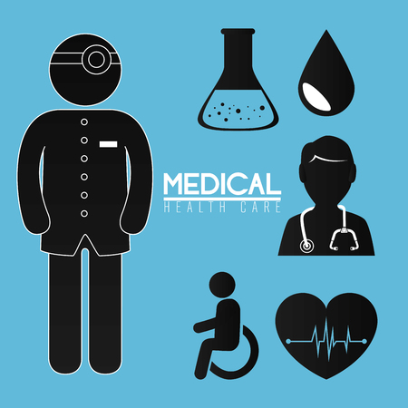 doctor with medical healthcare icons vector illustration design Ilustração