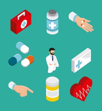 health doctor heart life pulse pills stethoscope bottle vector illustration