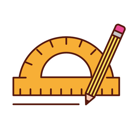 protractor pencil graphic design tools vector illustration