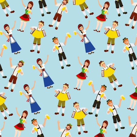 oktoberfest celebration girls holding beers boys playing accordion background vector illustration