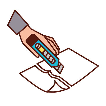 hand with the tool cutting a paper vector illustration 向量圖像