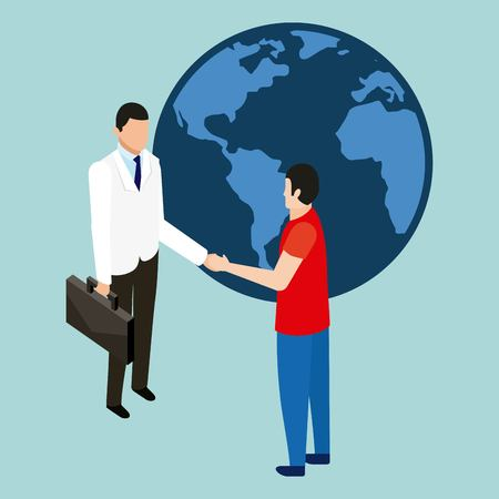 health doctor and patient greeting vector illustration Illustration