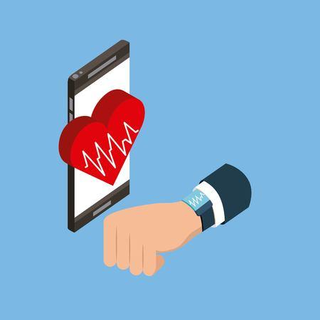 digital health doctor hand smartphone screen heart life vector illustration Illustration