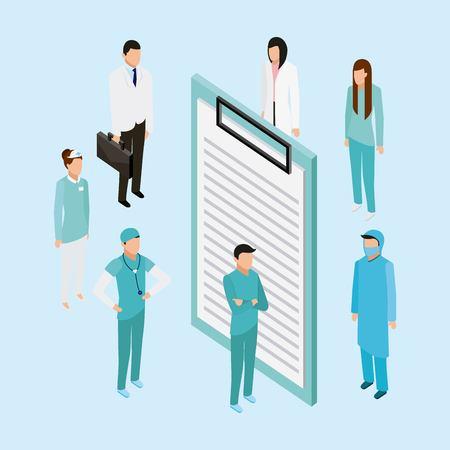 medical health form doctors nurse standing vector illustration Illustration