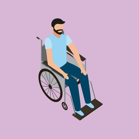 medical health man in wheelchairs vector illustration