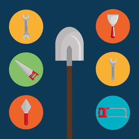 shovel with under construction equipment vector illustration design