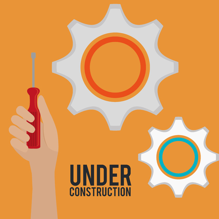hand with tool and under construction equipment vector illustration