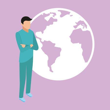 medical health world male standing vector illustration Illustration