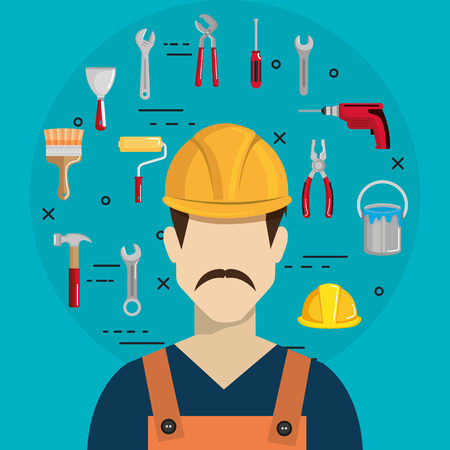 builder character with construction equipment vector illustration design Illustration