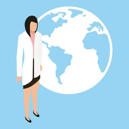 medical health female world international vector illustration Illustration