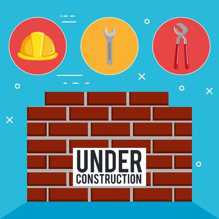 wall with under construction equipment vector illustration design Ilustração