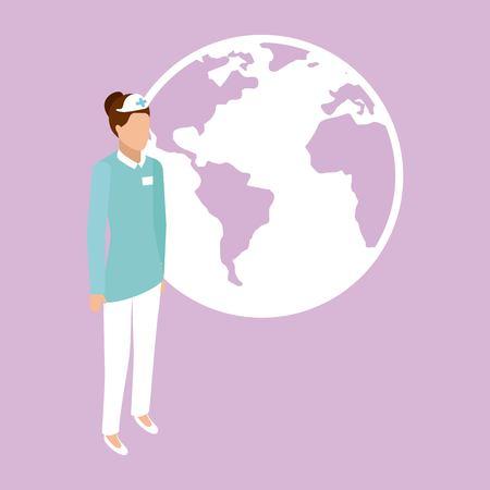 medical health nurse standing vector illustration Illustration
