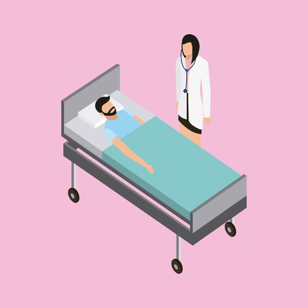 medical health man on a stretcher nurse watching vector illustration Stock Illustratie