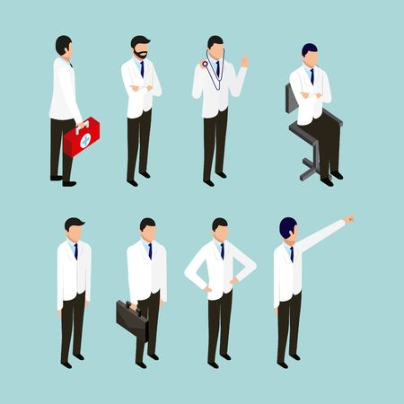 health doctors sitting holding portfolio and stethoscope vector illustration