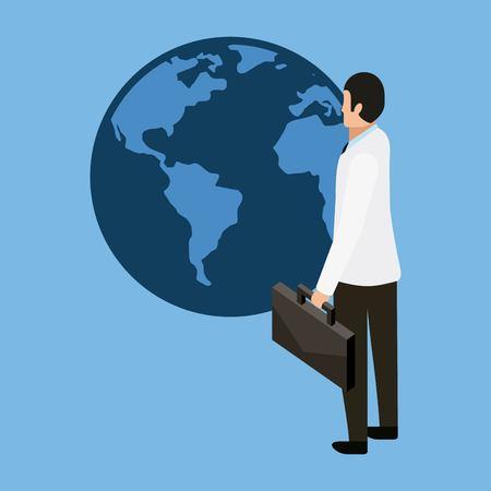 health world international doctor holding portfolio vector illustration