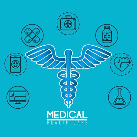 pharmacy symbol with medical healthcare icons vector illustration Foto de archivo - 108333396