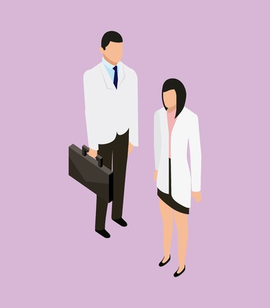 medical health doctor holding portfolio and patient vector illustration