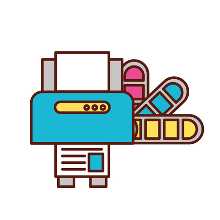 graphic design printer machine and color tone vector illustration Çizim