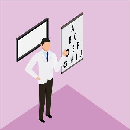 medical health optical exam letters doctor pointed vector illustration