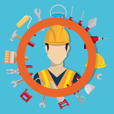 builder character with construction equipment vector illustration design