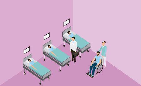 camillas de salud médica médico que atiende al paciente ilustración vectorial