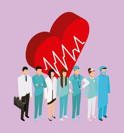 medical health heart life pulse doctors patients and nurse standing vector illustration