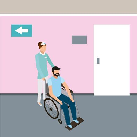 medical people health nurse with patient in wheelchair vector ollustration