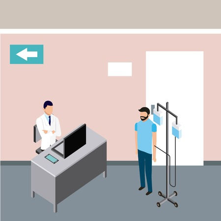 medical people health hopsital office doctor patient with stand iv vector illustration