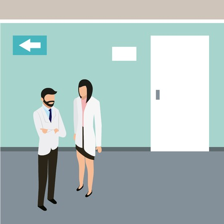 medical people health doctor and patient hospital vector illustration Çizim