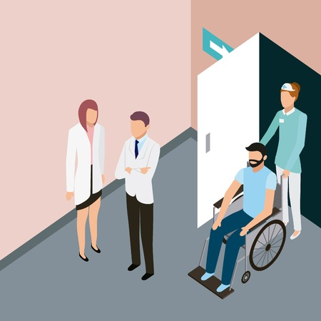 medical people health man in wheelchair with nurse doctor vector illustration