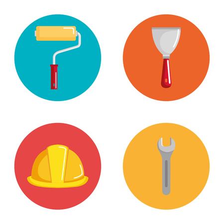 Bajo los iconos de equipos de construcción, diseño de ilustraciones vectoriales