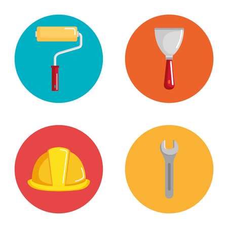 under construction equipment icons vector illustration design Çizim