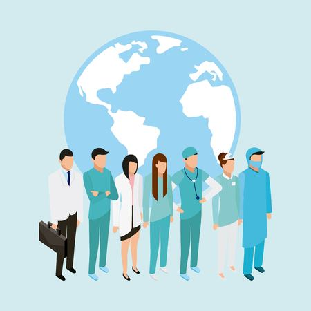 medical health patients doctors and nurse standing behind world vector illustration