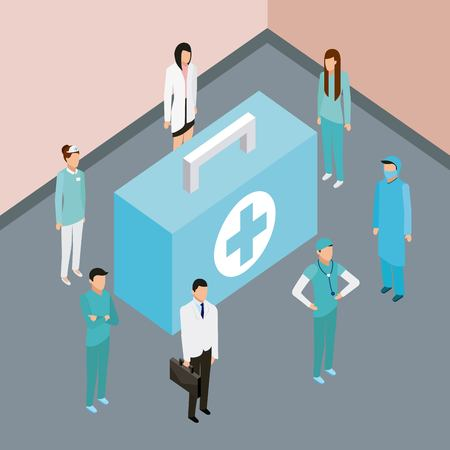 medical people health first aid kit nurse doctors and patients standing vector illustration