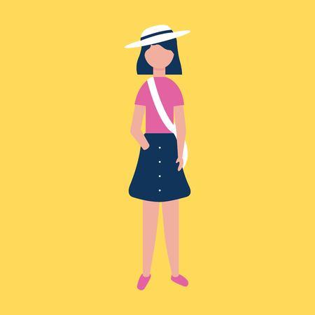 outdoor activities girl using hat fresh clothe vector illustration Illustration