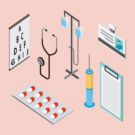 medical health stand iv pills inyection medicines form and stethoscope vector illustration