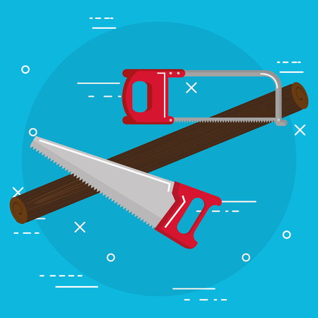 handsaw and saw tools vector illustration design