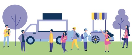 outdoor activities food cars people walking using telephone in the park vector illustration 일러스트