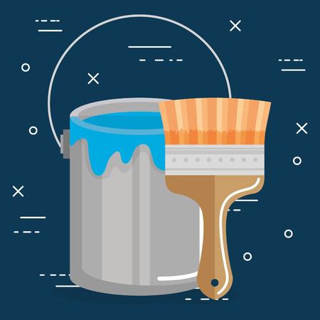 paint brush with boucket vector illustration design
