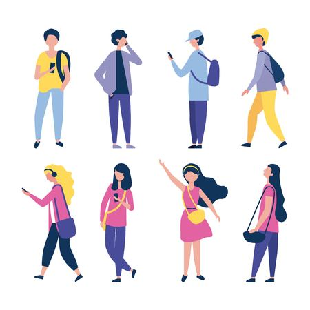 outdoor activities girls and boys hand up using telephone listen music vector illustration