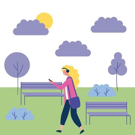 Outdoor-Aktivitäten blondes Mädchen hören Musik in der Parkvektorillustration